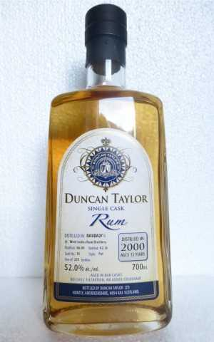 BARBADOS 2000 SINGLE CASK RUM WEST INDIES DESTILLERIE 15 JAHRE 52% VOL DUNCAN TAYLOR