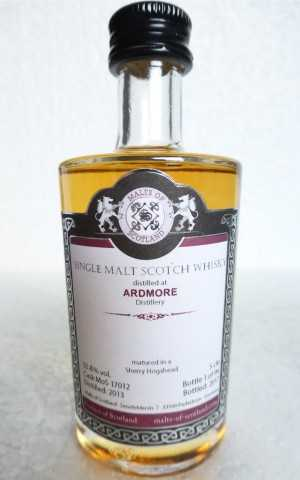 ARDMORE 2013 SHERRY HOGSHEAD 55,8% VOL MALTS OF SCOTLAND MINIATUR