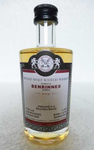 BENRINNES 2000 BOURBON BARREL 57,8% VOL MALTS OF SCOTLAND MINIATUR