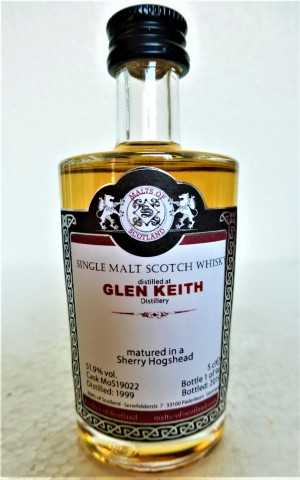 GLEN KEITH 1999 SHERRY HOGSHEAD 51,9% VOL MALTS OF SCOTLAND MINIATUR