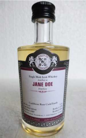 JANE DOE 1989 CARIBBEAN RUM CASK FINISH 48,2% VOL MALTS OF SCOTLAND MINIATUR