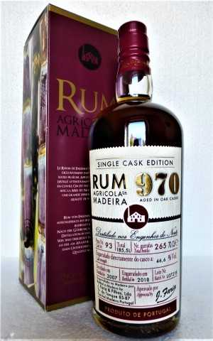 RUM 970 SINGLE CASK EDITION  ENGENHOS DO NORTE DESTILLERIE  AGRÍCOLA DA MADEIRA 46,6% VOL ORIGINALABFÜLLUNG