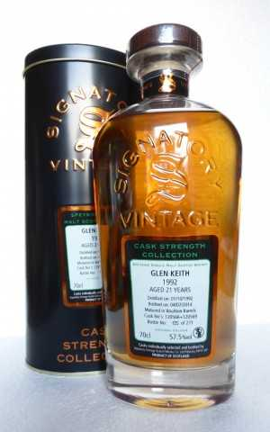 GLEN KEITH 1992 BOURBON BARRELS 57,5% VOL SIGNATORY CASK STRENGTH COLLECTION