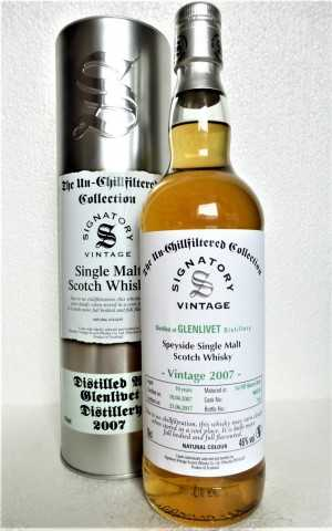 GLENLIVET 2007 THE UN-CHILLFILTERED COLLECTION FIRST FILL SHERRY BUTT 46% VOL SIGNATORY