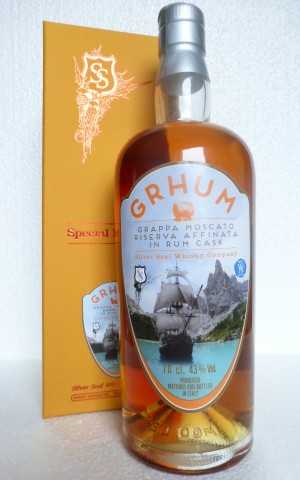 GRHUM GRAPPA MOSCATO RISERVA FINISHED IN A RUM CASK 43% VOL SILVER SEAL