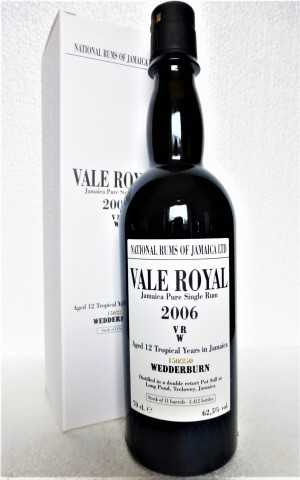 VALE ROYAL (LONG POND) 2006 VRW JAMAICA PURE SINGLE RUM 12 JAHRE 62,5% VOL ORIGINALABFÜLLUNG