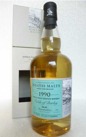 "BUNNAHABHAIN 1990 ""FIELDS OF BARLEY"" BOURBON HOGSHEAD 46% VOL WEMYSS MALTS"